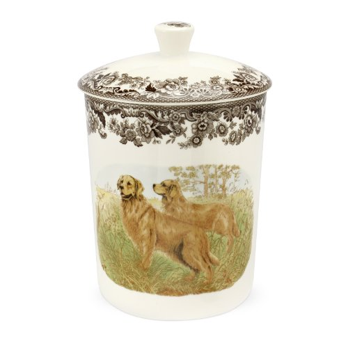 Spode Woodland Hunting Dogs Medium Canister with Golden - Hunting Canisters