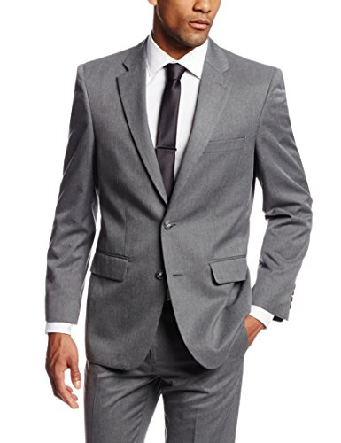 (Haggar Men's Gabardine Tailored Fit 2 Button Side Vent Suit Separate Coat, Dark Grey, 36)