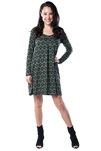 Nanakee Front Pleated Tunic Dress - Flattering Belly Cover Loose Fit Printed Shift Dress Long Sleeve T-Shirt Dress - S - Green