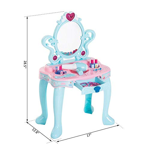 Qaba Pretend Play Princess Vanity Table Beauty Play Set with Fashion & Makeup Accessories for Girls