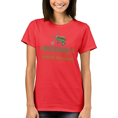 Zazzle Women's Basic T-Shirt, Garden Mulching T-Shirt, Deep Red L (1251 Gardens)