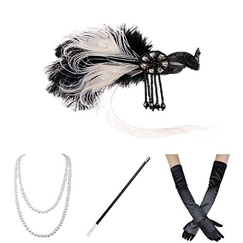 Xuhan 1920s Accessories Set for Women Headband Necklace Gloves Cigarette Holder (Set-6) -
