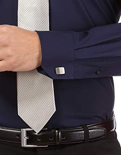 iron Aderente Tinta fitCollo Boretti blu Stiro Vincenzo UnitaNon non Scuro 3 Camicia Uomo LungaIn ClassicoManica slim ElegantiTaglio CxWreoQdB