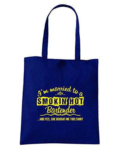 T-Shirtshock - Bolsa para la compra BEER0221 Funny Bartender T-shirt Azul Marino