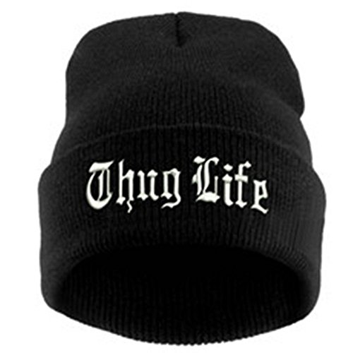 MyPartyShirt Thug Life Knit Black Beanie Hat Cap Embroidered Cuffed 2Pac Video Compilation
