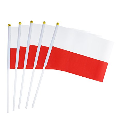 Kind Girl 25 Pack Hand Held Small Mini Flag Poland Flag Polish Flag Stick Flag Round Top National Country Flags,Party Decorations Supplies for Parades,World Cup,Festival Events,International Festival -
