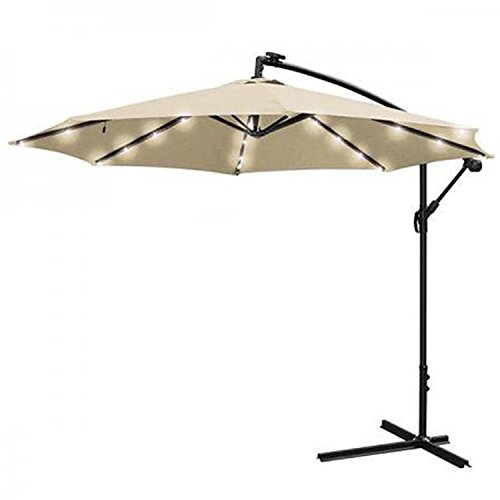 GC Global Direct 10ft Cantilever Offset Patio Crank Lift Umbrella w/ LED Lights by GC Global Direct
