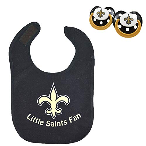 Official NFL Fan Shop Authentic Baby Pacifier and Bib Bundle Set. Start Out Early in Joining The Fan Club and Show Support for Your Favorite Football Team (New Orleans Saints - Black)