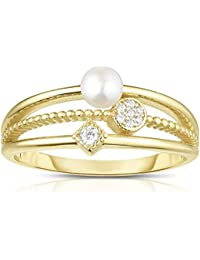 All Solid 925 Sterling Silver Fresh Water Pearl and Cubic Zirconia Tapered 3-Shank Designer Ring.