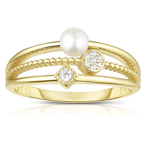 Unique Royal Jewelry All Solid 925 Sterling Silver Fresh Water Pearl and Cubic Zirconia Tapered 3-Shank Designer Ring. (14K Yellow Gold Plated-Size 6) - Gold Tapered Ring