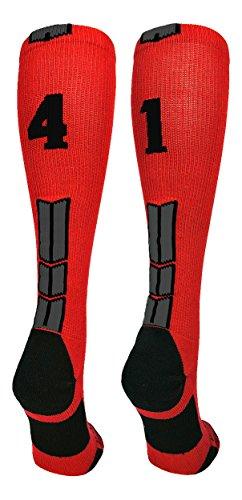 (MadSportsStuff Red/Black Player Id Over The Calf Number Socks (#41, Medium))