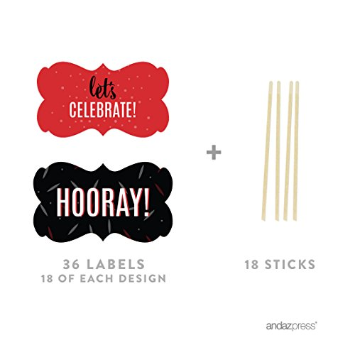 Andaz Press Signature Black, White, Red Party Collection, Fancy Frame Cupcake Toppers, 18-Pack, Ladybug Baby Shower ()