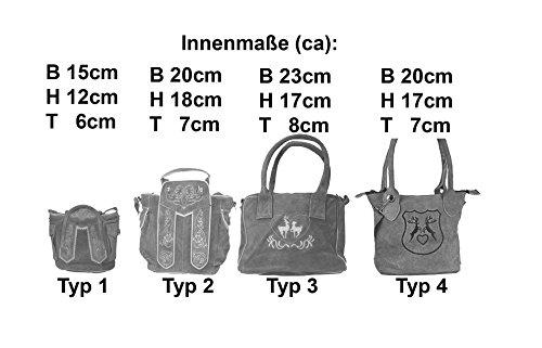 Dirndltasche Handtasche Trachten Tasche aus echtem Leder, Typ 4 - braun,