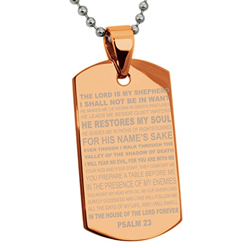 - Rose Gold Stainless Steel Psalms 23 Bible Verse Dog Tag Pendant Necklace