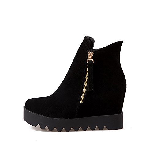 AmoonyFashion Closed High Heels Round Toe Flock Women's Boots Solid Zipper Black FXgqfwxFrE