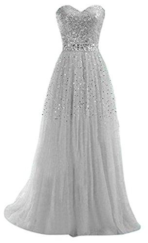 YOGLY Vestidos Mujer Encantador Vestido de Fiesta Largo Lentejuelas Vestidos de Fiesta de Noche Gris