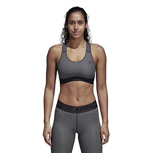 (adidas Alphaskin Sports Bra, Dark Grey Heather/Black, Large)