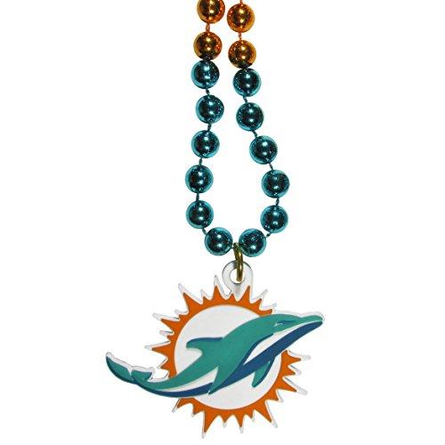 NFL Miami Dolphins Mardi Gras Necklace, (Miami Dolphins Logo Charm)