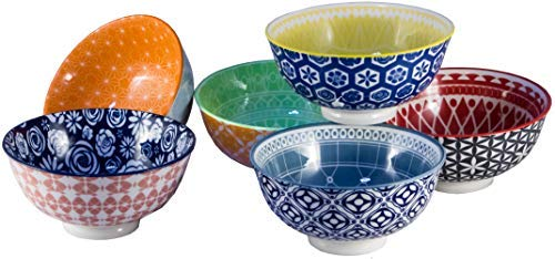 s, Large Porcelain Bowls Perfect for Cereal, Soup, or Pasta, Microwave & Dishwasher Safe, 6.1 Inch, Set of 6 Multi-Colored Patterned Designs (Amazon Exclusive) ()