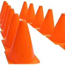 """7 Inch Plastic Traffic Cones - 12 Pack of 7"""" Multipurpose Construction Theme Party Sports Activity Cones for Kids Outdoor and Indoor Gaming and Festive Events"""