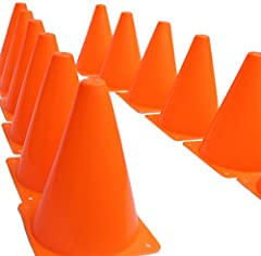 """Dazzling Toys Orange Plastic Traffic Cones offer 12 pieces with Color: orange, yellow Each measures. 7"""" tall. Great for training the little leagues. Ideal for a construction theme birthday party decoration. Good for agility and football. Manu..."""