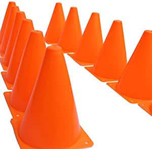 "7 Inch Plastic Traffic Cones - 6 Pack of 7"" Multipurpose Construction Theme Party Sports Activity Cones for Kids Outdoor and Indoor Gaming and Festive Events"