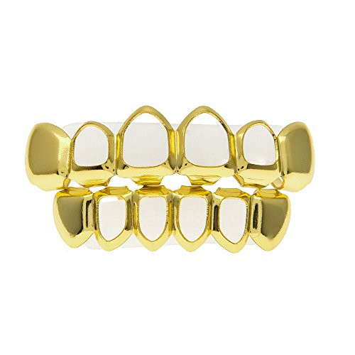 Hot Sale!OWMEOT 18k Gold/Sliver-Plated Stainless Steel 6 Tooth Grillz (Top/Bottom/Set) (Gold) ()