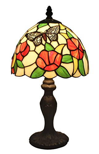 Amora Lighting Tiffany Style AM046TL08 14.5-inch Floral Mini Table Lamp - Floral Stained Glass Table Lamp
