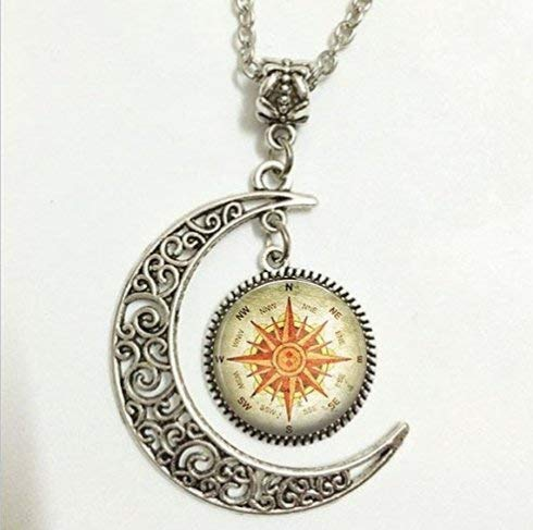 (Compass Pendant,North South East West Necklace,North South East West Moon Jewelry,Moon Necklace Glass Art)