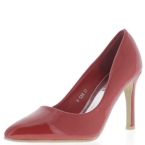 Escarpins rouges vernis à talons fins de 9,5 cm bouts pointus