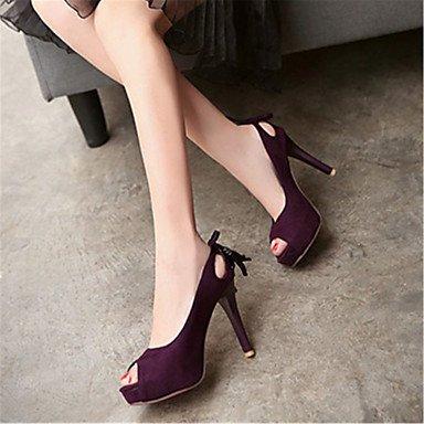 ligaosheng Stiletto Sandalias Negro Morado Terciopelo Mujer purple Otro Trabajo Rosa Tacón Informal y Vestido Oficina FqwTBFr