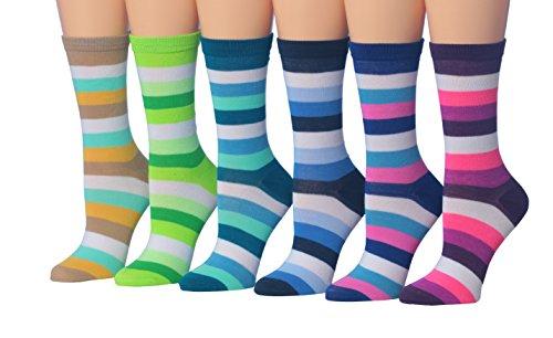 Multi Stripe Toe Socks (Tipi Toe Women's 6-Pairs Thin Stripe Ministripe Colorful Work Fashion Crew Dress Socks, (sock size 9-11) Fits shoe size 5-9, WC43-A)