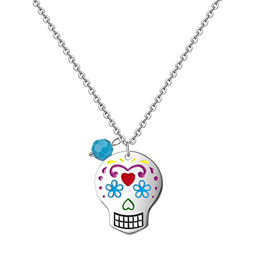 Couples Costume Birth (Mother Daughter Necklace Long Statement Personalized Sugar Skull Birthstone Couples Necklace Set (mother skull necklace))