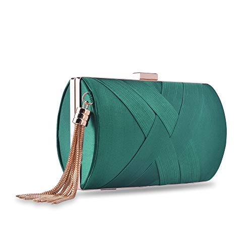 Womens Evening Clutch Bag, Designer Silk Satin Clutch Bag Evening Handbag,Wedding Bag,Ladies Party Clutch Purse(Dark Green-Elegant Tassel)