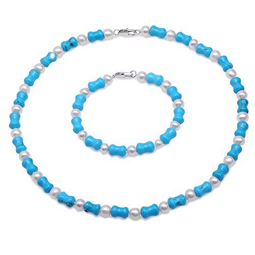JYX Beautiful 8×13mm Blue Bone-shape Turquoise with White Round Freshwater Pearl Necklace Bracelet Jewelry Gemstone Set