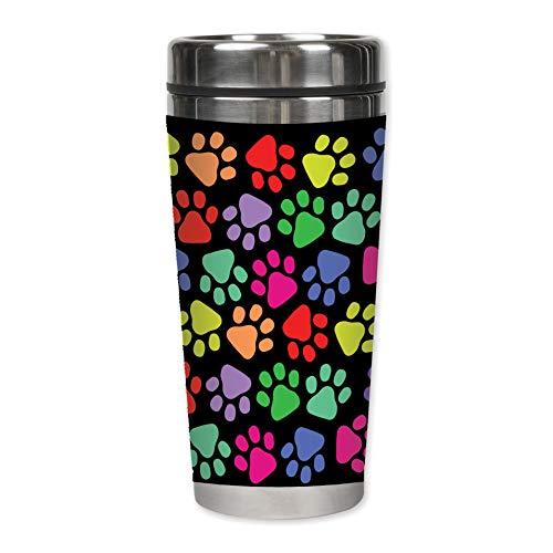 Elanze Designs Colorful Paw Prints on Black 16 Oz Stainless Steel Travel Mug