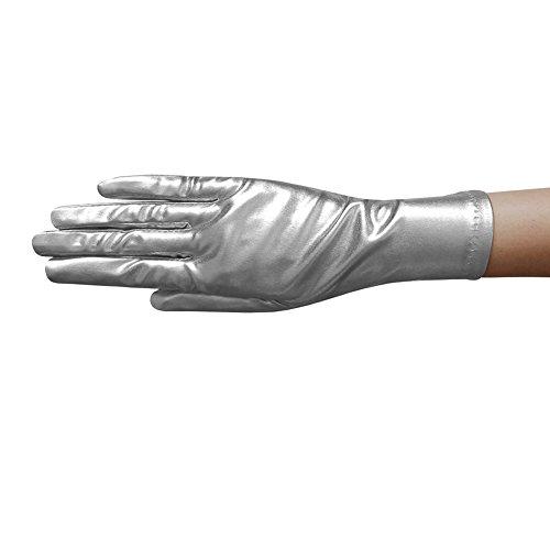 ZaZa Bridal Shiny Stretch Metallic Gloves Wrist Length (2BL)-Silver by ZaZa Bridal