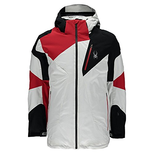 Spyder Leader Mens Insulated Ski Jacket - Large/White-Black (Spyder Men Ski Jacket)
