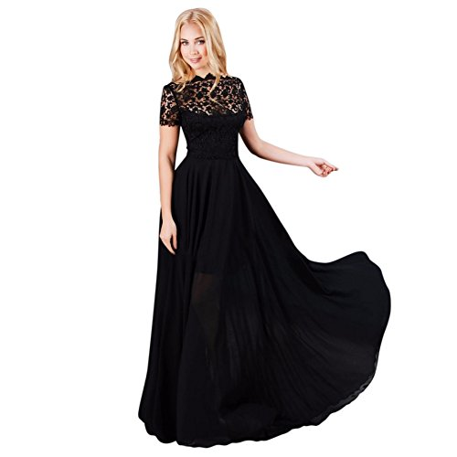 Hengzhi Women's Lace Long Dress Retro Vintage Hollow Short Sleeve Classic Gown