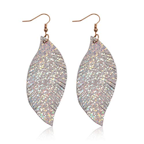 Leather Feather Earrings - Bohemian Lightweight Faux Exotic Leather Geometric Drop Earrings - Hook Dangles Snake Print Marquise Leaf/Python Embossed Teardrop (Suede Feather - Silver)