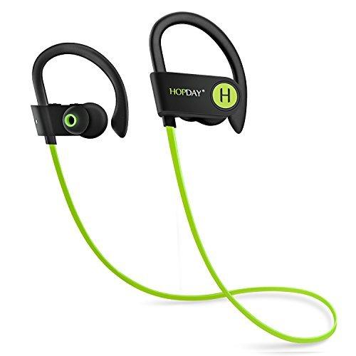Bluetooth Headphones, HOPDAY Wireless Headphones in-Ear Earphones w/Mic  Noise Cancelling Headsets Stereo Sound, IP68 Waterproof Sweatproof Sports