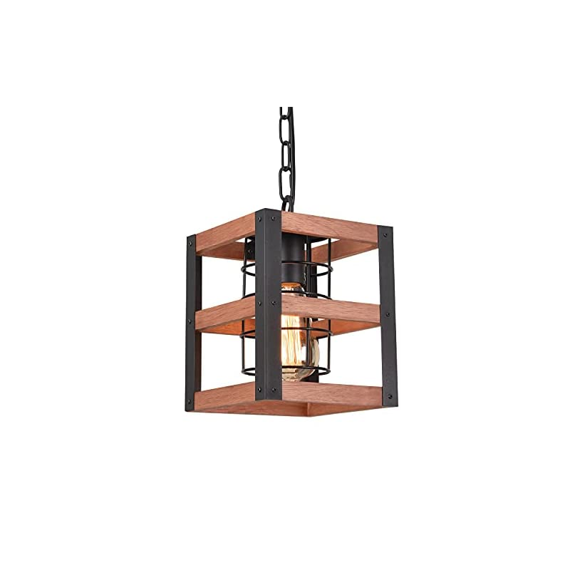 Farmhouse Pendant Light Antique Wood Finish Finish Rural Industrial Style Hanging lamp with Adjustable Chain for Kitchen…