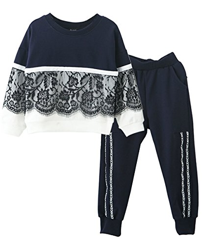 Ancia Toddlers Little Girl Kids Toddlers Long Sleeve Top Pant Legging Set(Lace navy,150) , Lace Navy , #150(9-10Years) (Cute Crop Tops For 10 Year Olds)