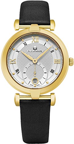 Alexander Monarch Olympias Date Silver Large Face Stainless Steel Plated Yellow Gold Watch For Women - Swiss Quartz Black Satin Leather Band Elegant Ladies Dress Watch A202-03 by Alexander