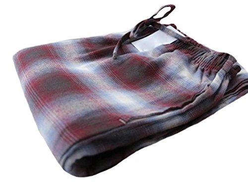 Yayu Womens Drawst Relaxed Loungewear Plaid Pajama Bottoms Pants Wine red Small