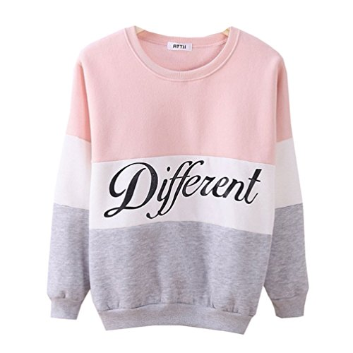 Cute Hoodies Sweater Pullover Double Deer Geometric Printed Medium Pink (Clothing Teen Girls compare prices)