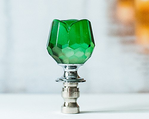- One of Dazzling Glass Lamp Shade Finial Topper, Harp Toppers - Green Tulip