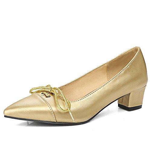 Moda Talón Para Mujer Grueso Tacón Puntiagudo Bowknot Slip On Vestido Bombas De Oro