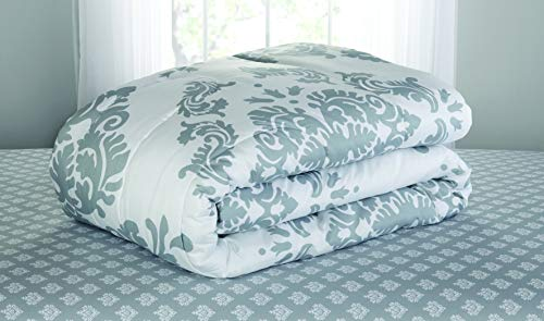 Contemporary Damask Pattern Classic Noir Bed In A Bag Bedding Set (Queen, Gray)