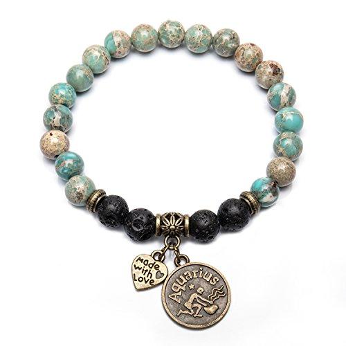 Bivei Retro 12 Zodiac Sign Bracelet Constellation Lava Stone Essential Oil Diffuser Healing Crtystal Gemstone Beaded Charm Bracelet(Bronze Aquarius)